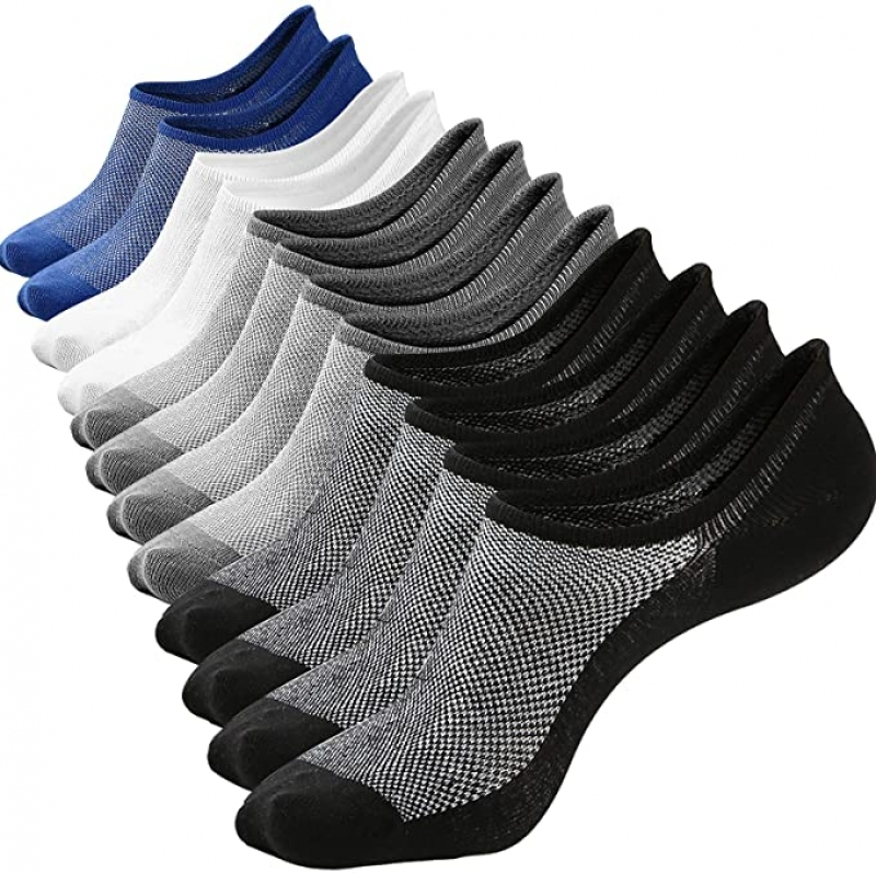 ihocon: Mens No Show Casual Invisible Cotton Non-Slip Durable Socks,6 Pairs 男士低幫襪