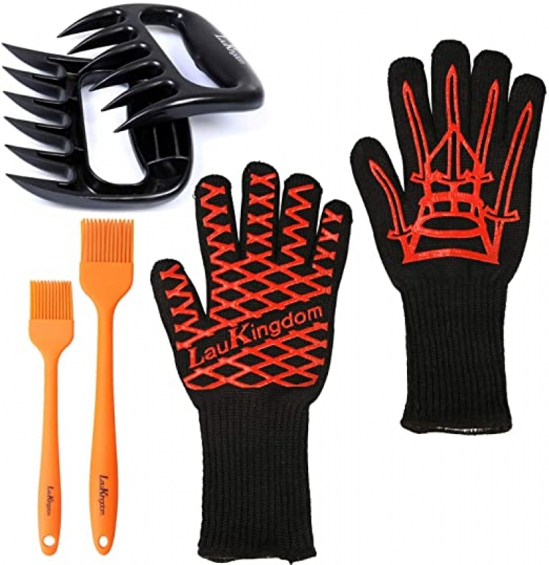 ihocon: LauKingdom BBQ Accessories,Icluding Heat Resistant Gloves, Meat Claws & Brushes 隔熱手套, 矽膠刷及扒肉爪