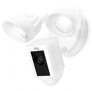 ihocon: Ring Floodlight Camera Motion-Activated HD Security Cam Two-Way Talk and Siren Alarm, White 居家安全動作感應監視鏡頭(含雙向通話和警報功能)