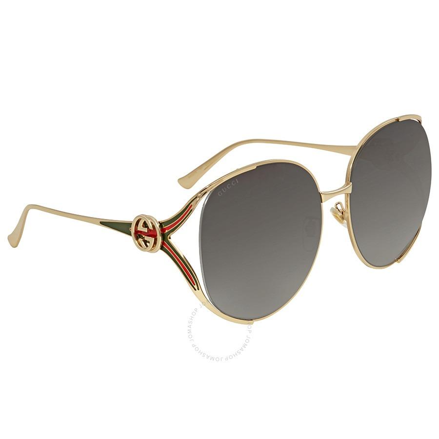 ihocon: Gucci Grey Gradient Round Sunglasses GG0225S 太陽眼鏡