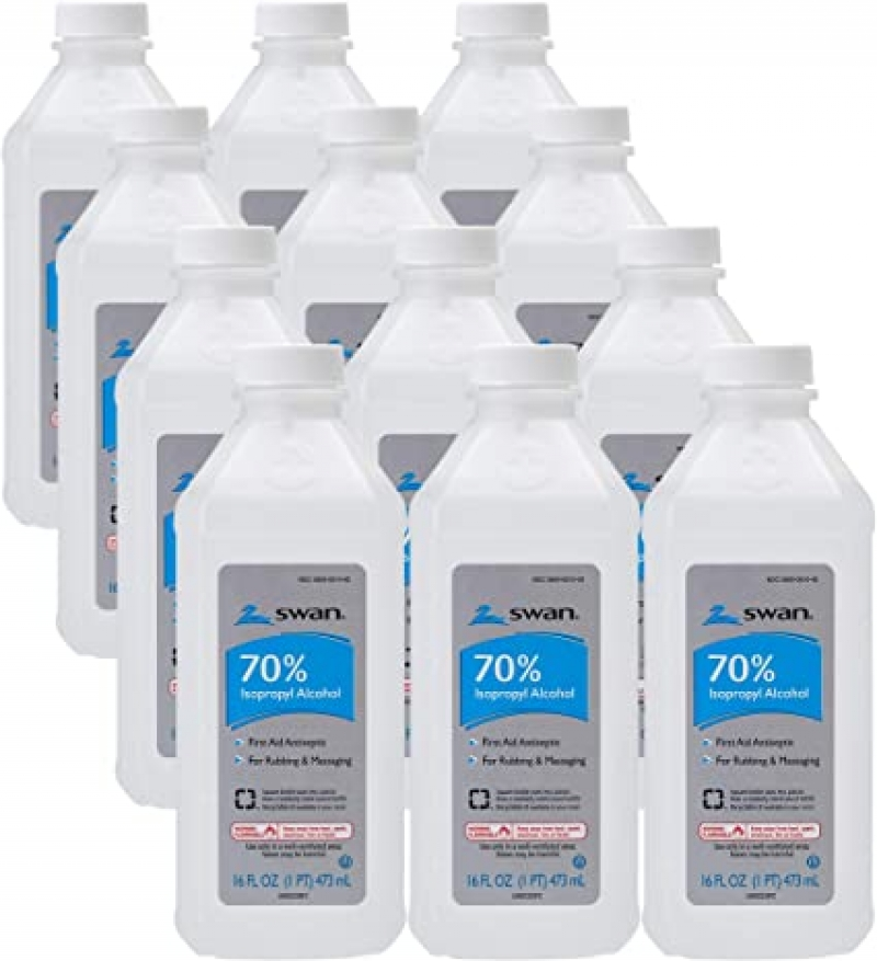 ihocon: Swan 70% Isopropyl Alcohol First Aid Antiseptic, 16 Fl Oz (Pack of 12) 消毒酒精