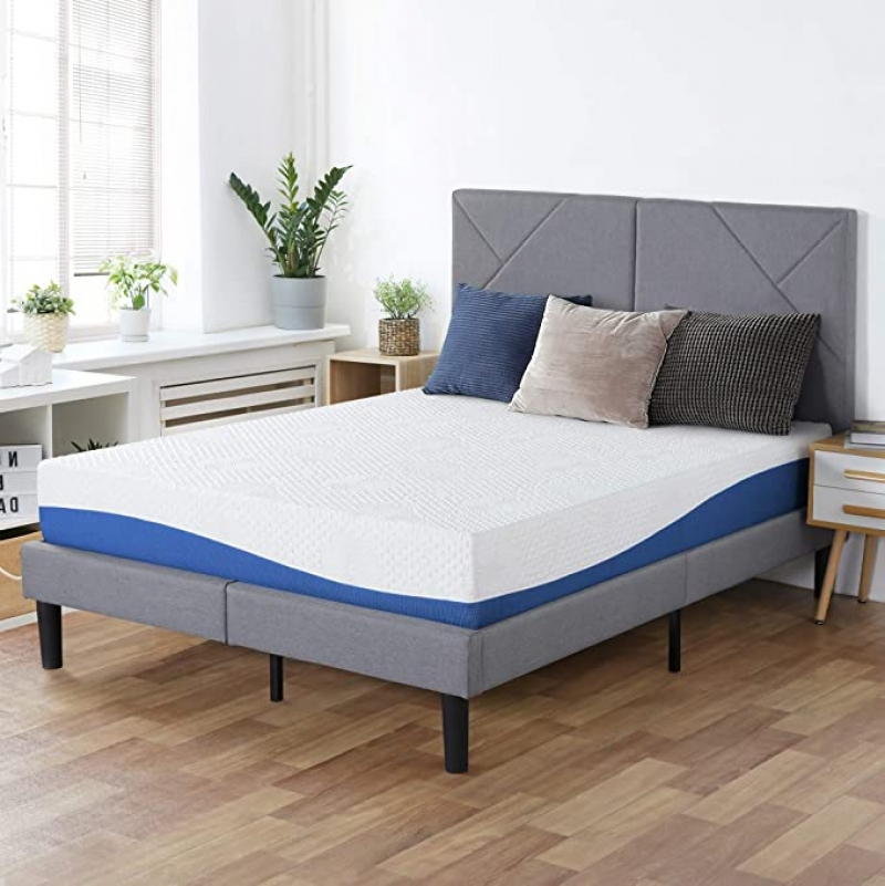 ihocon: PrimaSleep Wave Gel Infused Memory Foam Mattress, 10'' H, Twin, Blue 記憶棉床墊