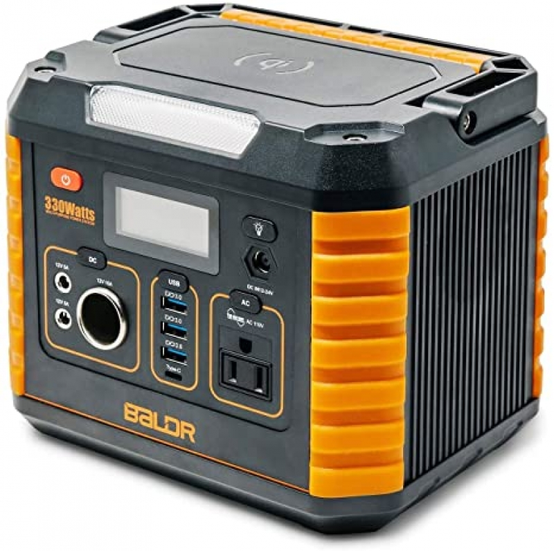ihocon: BALDR 330 Watt Solar Battery Portable Generator with QC3.0 & Type C SOS Flashlight and Wireless Charger 便攜式電池
