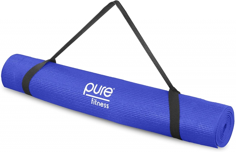 ihocon: Pure Fitness Non-Slip Exercise Yoga Mat with Carrying Strap, 3.5 mm Thick 瑜伽墊