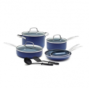 ihocon: Blue Diamond Pan CC001602-001 Toxin Free Ceramic Nonstick Cookware Set, 10pc, Blue    陶瓷不粘鍋組