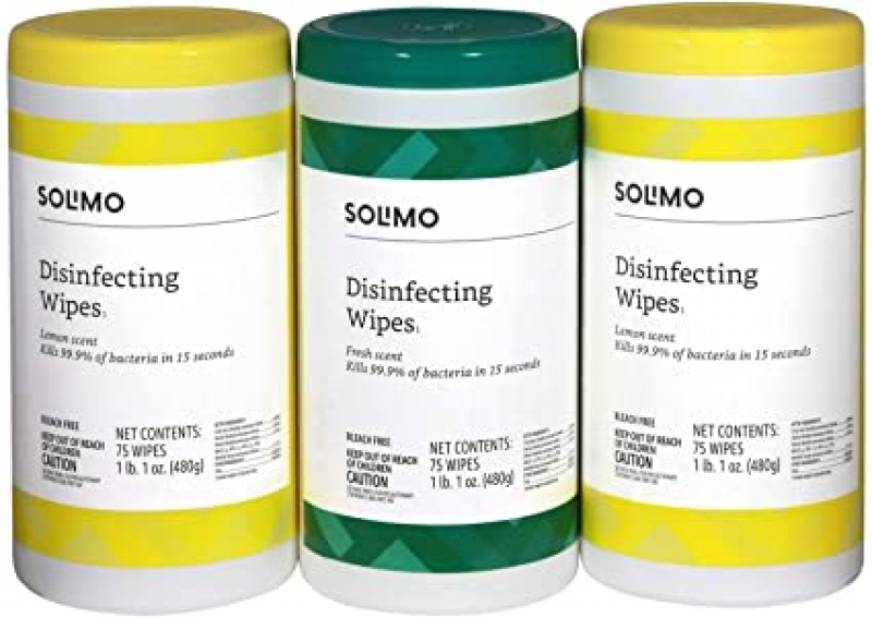 ihocon: [Amazon 自家品牌]Solimo Disinfecting Wipes, 75 Count (Pack of 3)消毒濕巾