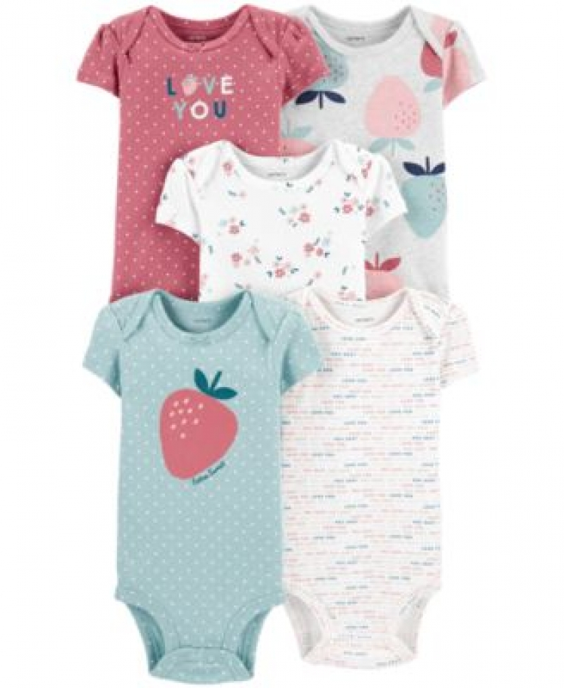 ihocon: Carter's Baby Girls 5-Pack Strawberry Printed Cotton Bodysuits 純棉嬰兒服