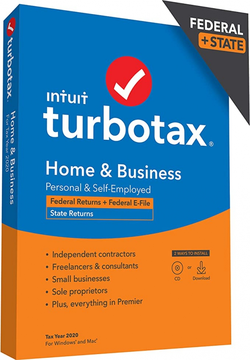 ihocon: [報稅軟體] Home & Business Desktop 2020 Tax Software, Federal and State Returns + Federal E-file [PC/Mac Disc]