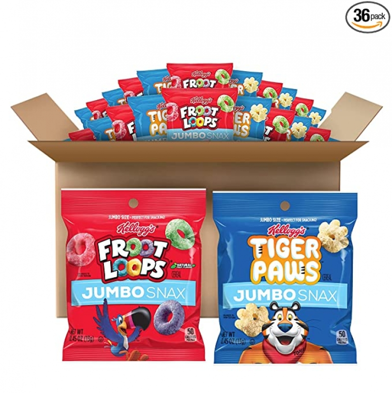 ihocon: Kellogg's Jumbo Snax Cereal Snacks, Tiger Paws, 1 Box (12 Pouches) and Froot Loops 2 Boxes (24 Pouches) 綜合點心