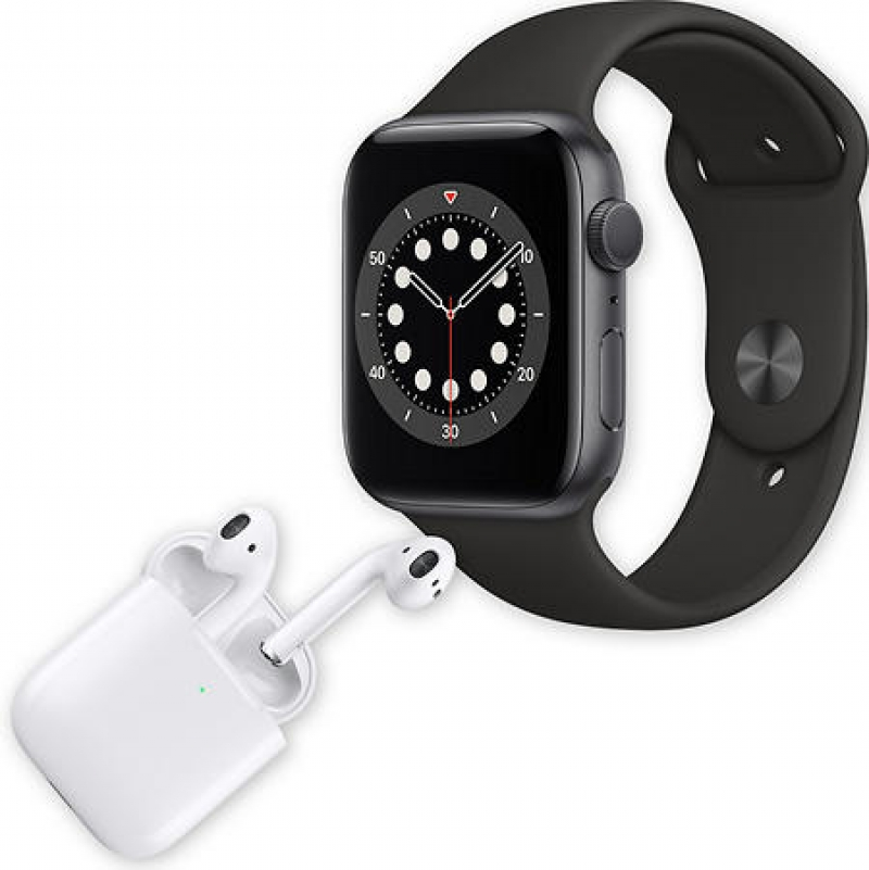 ihocon: Apple Watch Series 6 44mm GPS Smartwatch (Space Gray Aluminum Case with Black Sport Band) + Apple AirPods with Wireless Charging Case (2nd Generation)