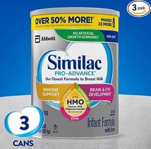 ihocon: Similac Pro-Advance Non-GMO Infant Formula with Iron, 36 Oz, Pack of 3嬰兒奶粉