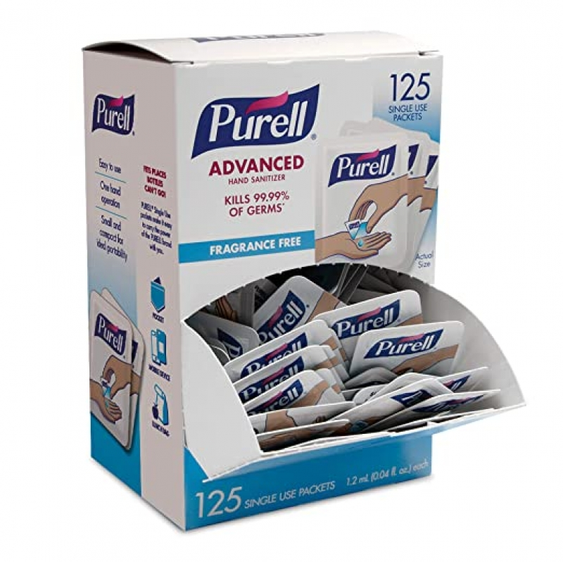 ihocon: PURELL SINGLES Advanced Hand Sanitizer Gel, Fragrance Free, 125 Count 手部消毒液/乾洗手隨身包