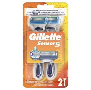 ihocon: Gillette Sensor5 Men's Disposable Razors, 2 Count, Mens Razors/Blades 男士刮鬍刀2支