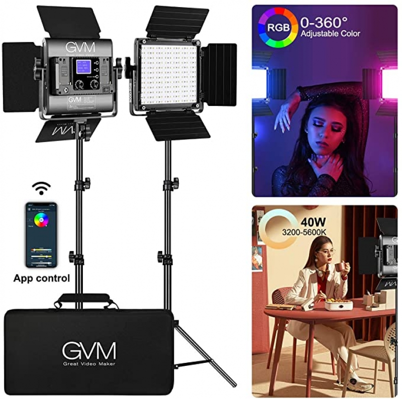 ihocon: GVM CRI 97+ RGB Led Video Light, 2-Pack with APP Control 攝影補光燈, 可APP操控