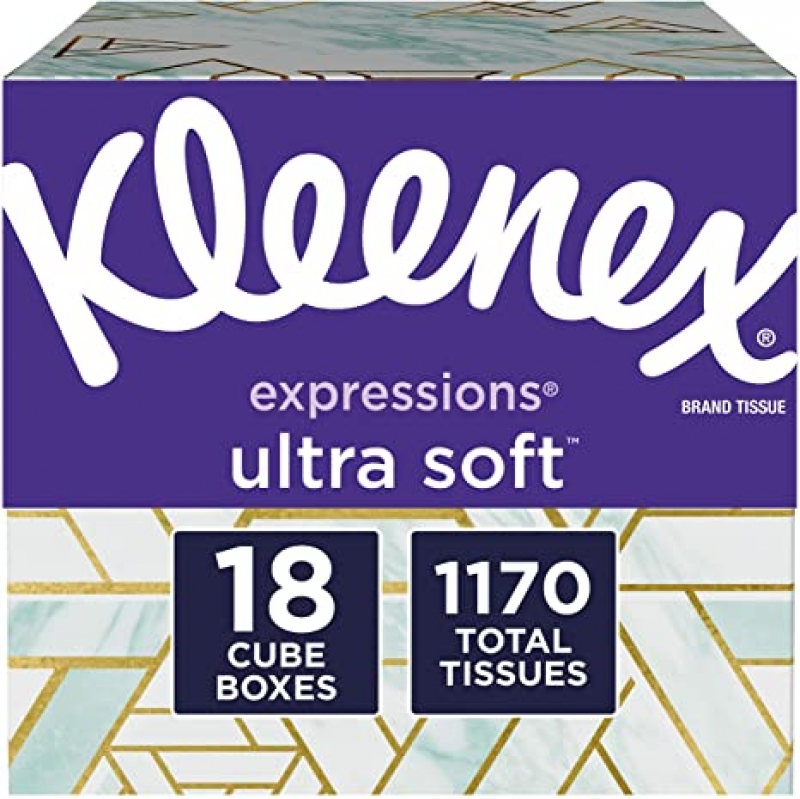 ihocon: Kleenex Expressions Ultra Soft Facial Tissues, 18 Cube Boxes, 65 Tissues per Box (1, 170 Total Tissues)  面紙