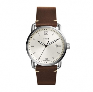 ihocon: Fossil Men's Commuter Stainless Steel and Leather Casual Quartz Watch 男錶