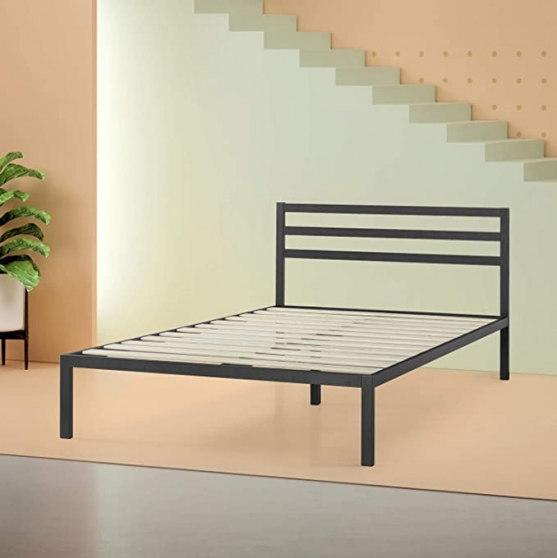 ihocon: Zinus Mia Modern Studio 14 Inch Platform 1500H Metal Bed Frame With Headboard, Queen 金屬床架,