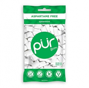 ihocon: PUR 100% Xylitol Chewing Gum, Spearmint - Sugar-Free + Aspartame Free, Vegan + non GMO, 55 Count (Pack of 1)  無糖口香糖