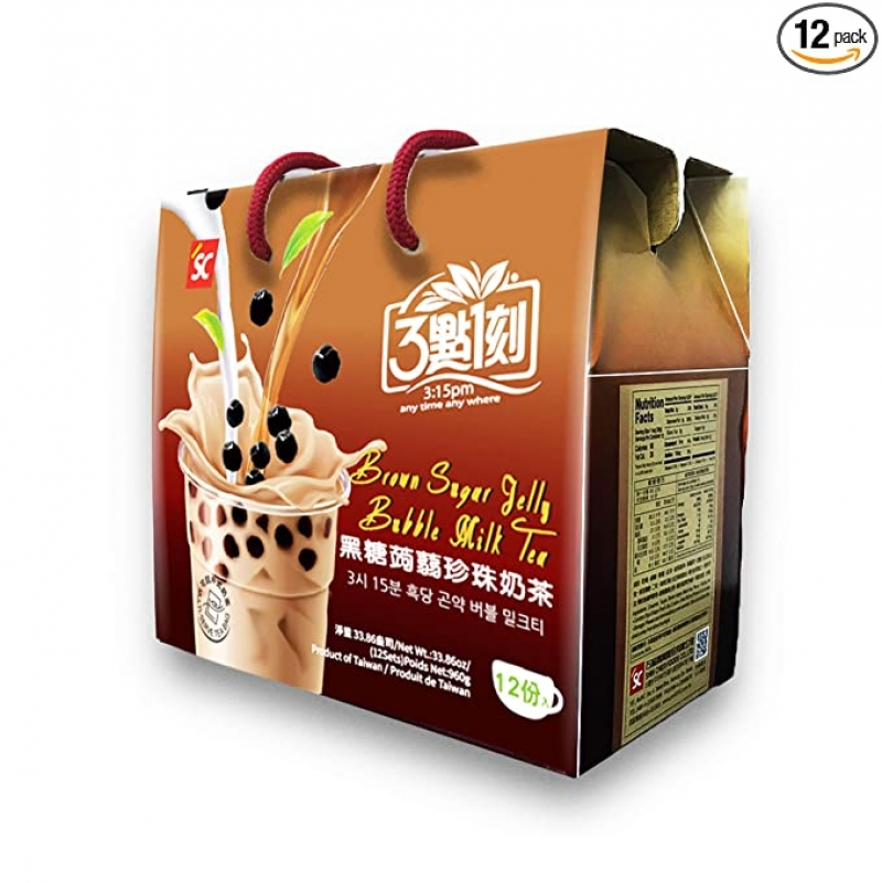 ihocon: Brown Sugar Milk Tea with Konjac Jelly - Authentic Bubble Boba Tea, 33.86oz (12 servings) 3點1刻 黑糖蒟蒻珍珠奶茶