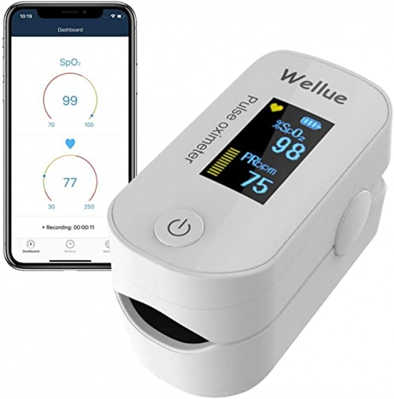 ihocon: Wellue Pulse Oximeter Fingertip Blood Oxygen Saturation Monitor with Batteries & Lanyard 藍芽血氧監測儀