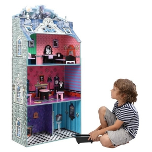 ihocon: Teamson Kids- Monster Mansion Doll House with Furniture 怪物娃娃屋