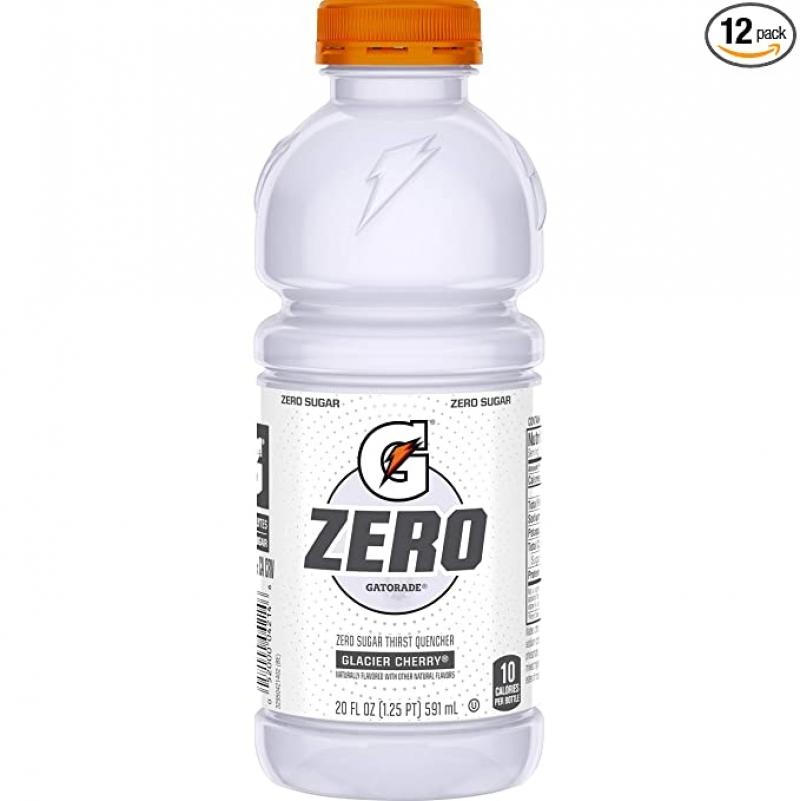 ihocon: Gatorade Zero Sugar Thirst Quencher, Glacier Cherry, 20 Fl Oz (Pack of 12) 運動飲料, 含電解質