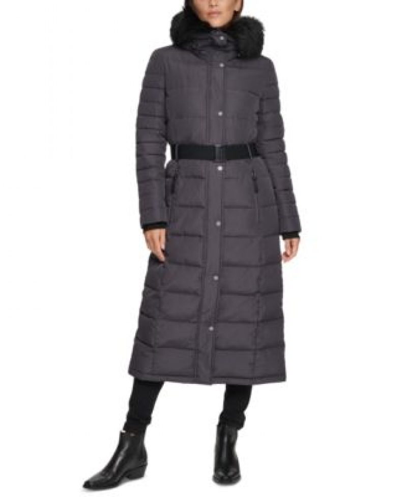 ihocon: Calvin Klein Belted Faux-Fur-Trim Hooded Maxi Puffer 女士連帽長大衣