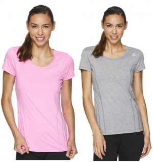 ihocon: Reebok Women's Fitted Performance Linear Marled Jersey T-Shirt女士短袖衫-多色可選