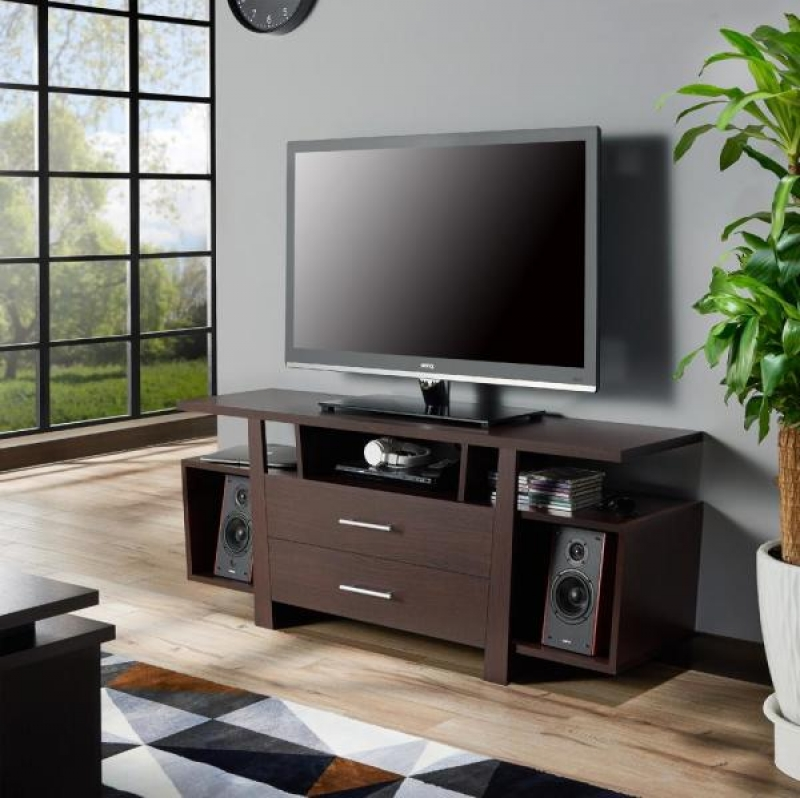 ihocon: Furniture of America Citron 60 in. Espresso Wood TV Stand with 2-Drawer Fits TVs Up to 66 in 電視櫃