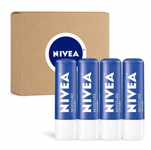 ihocon: NIVEA Moisture Lip Care - Unisex Intensively Moisturizing Balm - 0.17 oz, Pack Of 4  妮維雅護唇膏