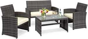 ihocon: Goplus 4-Piece Rattan Patio Furniture Set藤製陽台桌椅
