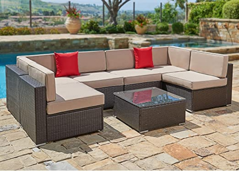 ihocon: SUNCROWN Outdoor Patio Furniture 7-Piece Wicker Sofa Set 七件式戶外傢具