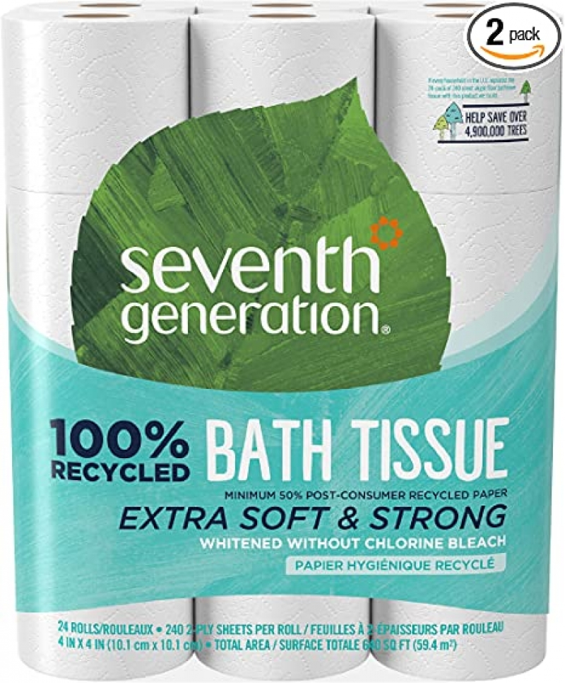 ihocon: Seventh Generation White Toilet Paper 2-Ply 100% Recycled Paper, 24 Count of 240 Sheets Per Roll, Pack of 2 廁所衛生紙