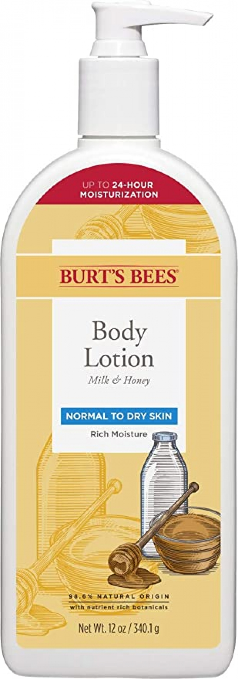 ihocon: Burts Bees Body Lotion for Normal to Dry Skin with Milk & Honey, 12 Oz 牛奶蜂蜜身體乳