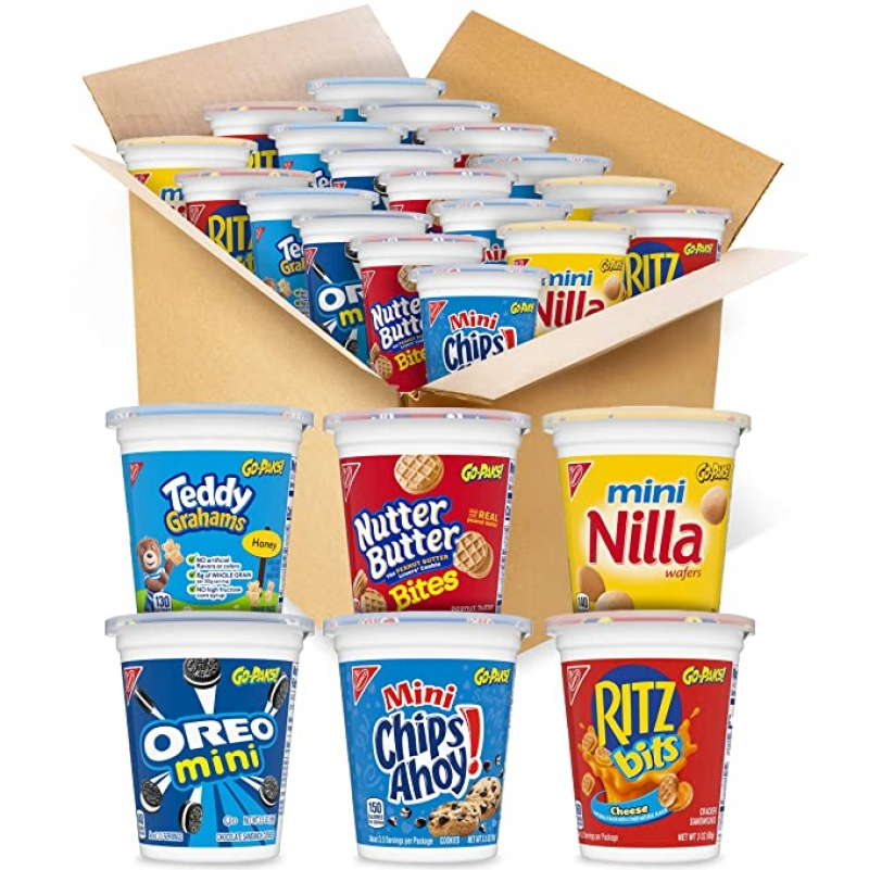 ihocon: OREO Mini Cookies, CHIPS AHOY! Mini Cookies, RITZ Bits Cheese Crackers, Teddy Grahams Honey, Nutter Butter Bites, Mini Nilla Wafers Cookies Go-Cup Variety Pack, 14 Go-Cups 綜合口味點心