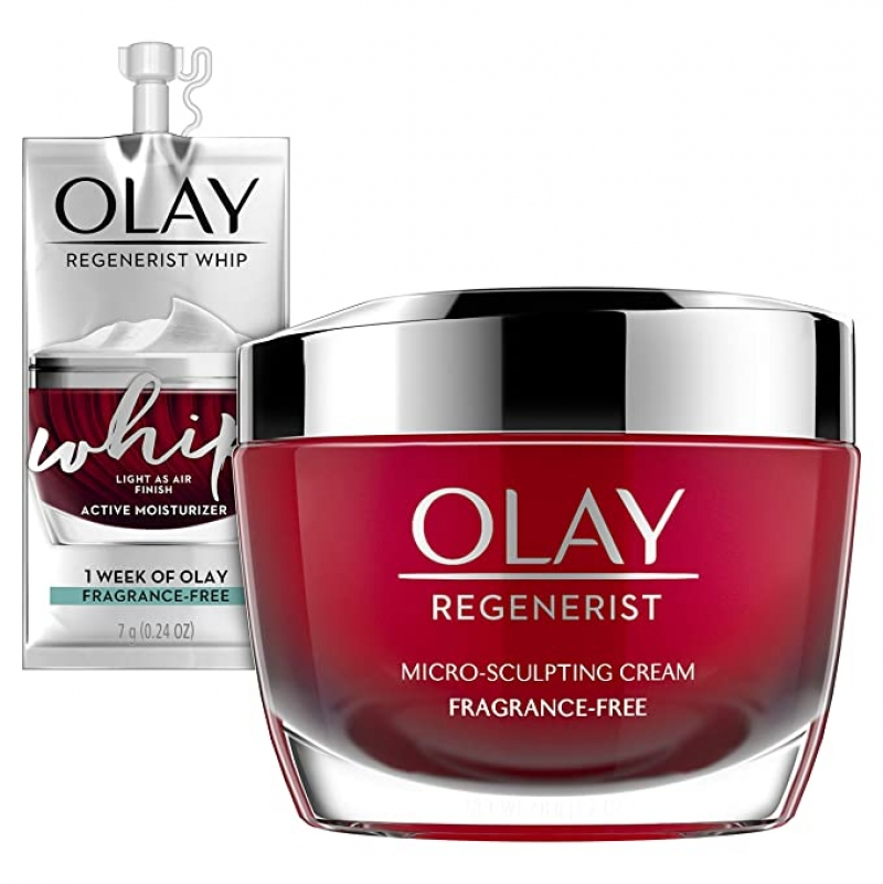 ihocon: Olay Regenerist Micro-Sculpting Cream Face Moisturizer 新生高效緊緻護膚霜1.7 Oz + Whip Face Moisturizer Travel/Trial Size Gift Set