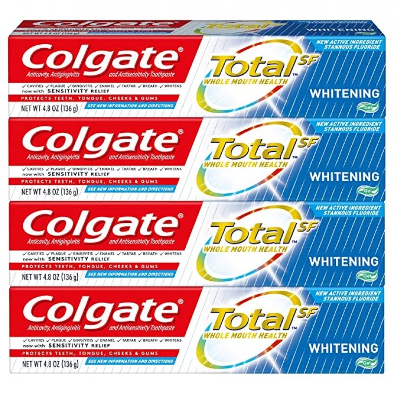 ihocon: Colgate Total Whitening Toothpaste, 4.8 ounce (4 Pack) 高露潔美白牙膏