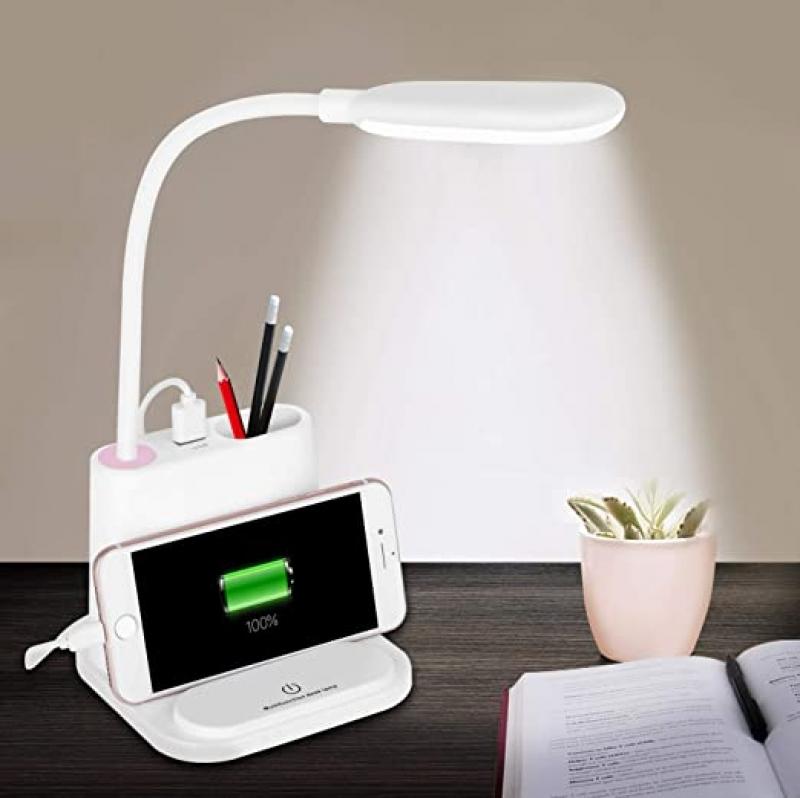 ihocon: NovoLido Rechargeable Desk Lamp with USB Charging Port & Pen Holder (White)充電式桌燈