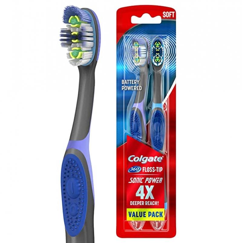 ihocon: Colgate 360 Total Advanced Floss-Tip Sonic Battery Power Toothbrush, 2 Count 高露潔電動牙刷(使用電池)