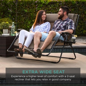ihocon: Best Choice Products 2-Person Double Wide Zero Gravity Chair Lounger w/ Cup Holders 雙人寬零重力躺椅