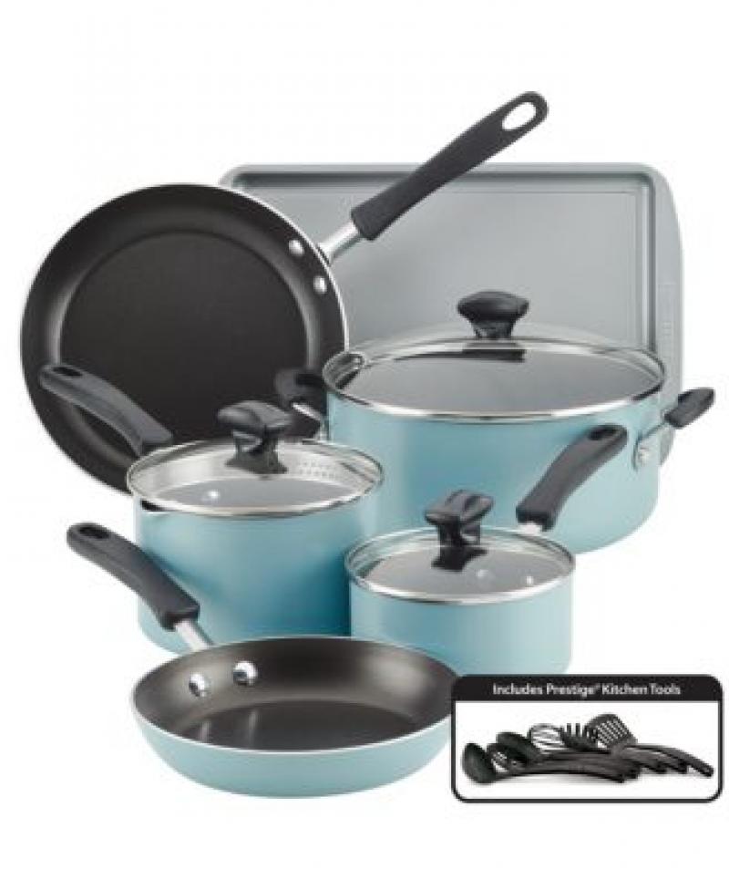 ihocon: Farberware Cookstart Aluminum DiamondMax Nonstick 15-Pc. Cookware Set 不粘鍋組