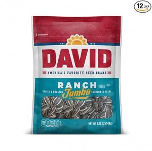 ihocon: DAVID Roasted and Salted Ranch Jumbo Sunflower Seeds, Keto Friendly, 5.25 oz, 12 Pack 鹽烤大粒葵花籽