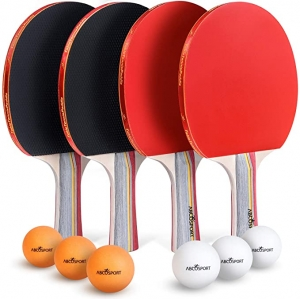 ihocon: Abco Tech Ping Pong Paddle & Table Tennis Set - Pack of 4 Premium Rackets and 6 Table Tennis Balls 乒乓球拍和乒乓球套裝-包4個高級球拍和6個乒乓球-軟海綿橡膠-專業和娛樂遊戲的理想之選-2位或4位玩家