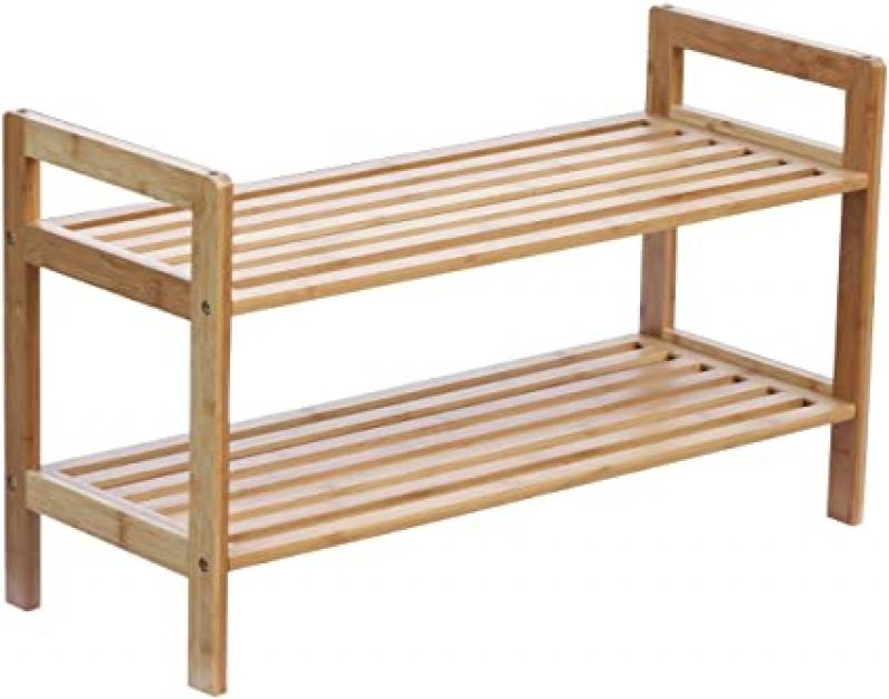 ihocon: Oceanstar 2-Tier Bamboo Stackable Shoe Rack雙層竹製鞋架