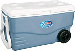 ihocon: Coleman 100-Quart Xtreme 5-Day Heavy-Duty Cooler with Wheels, Blue 有輪保冷箱