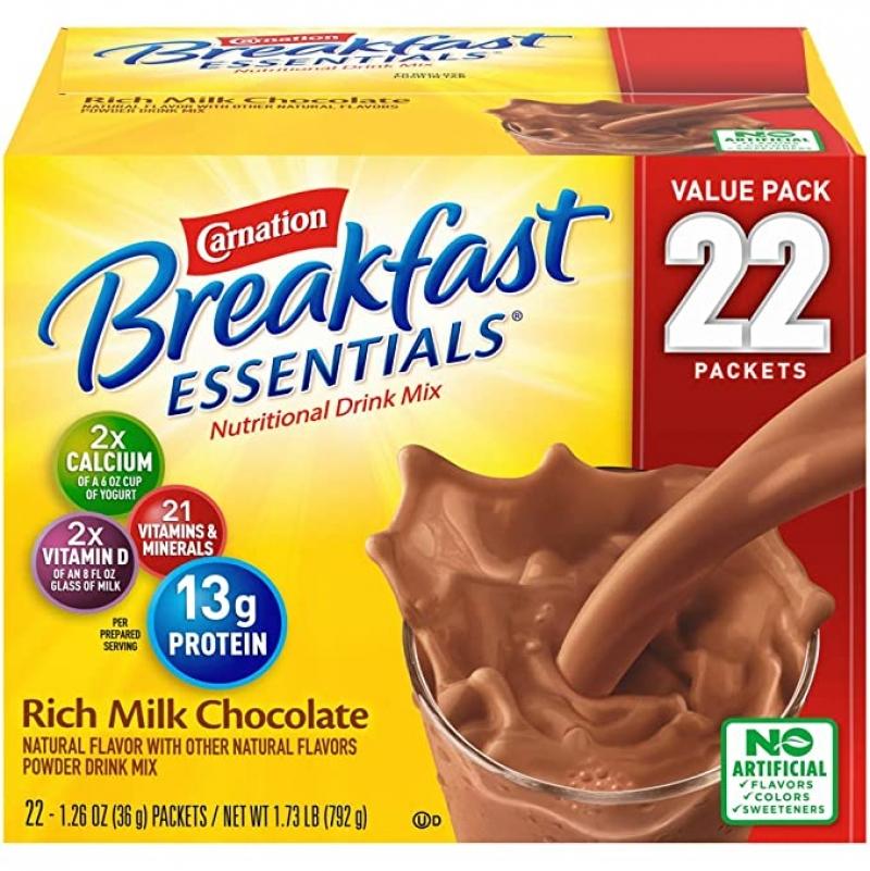 ihocon: Carnation Breakfast Essentials Powder Drink Mix, Rich Milk Chocolate, Box of 22 Packets 濃牛奶巧克力沖泡粉