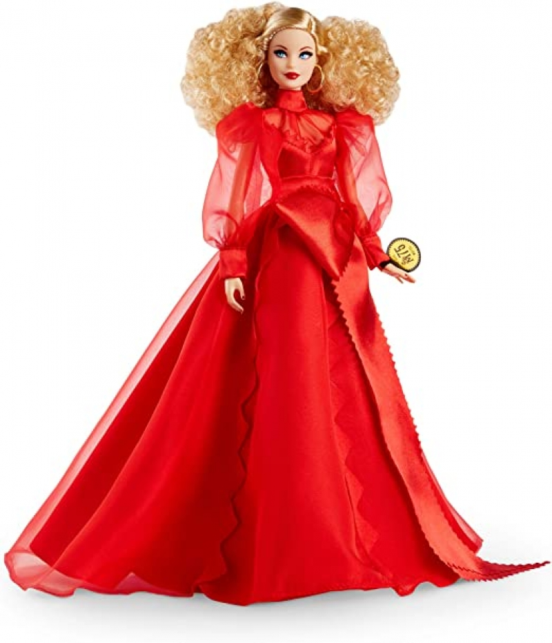 ihocon: Barbie Collector Mattel 75th Anniversary Doll in Red Chiffon Gown, Blonde 芭比75週年紀念娃娃