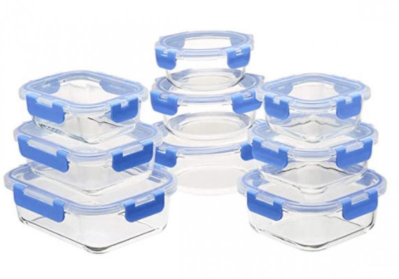 ihocon: Amazon Basics Glass Locking Lids Food Storage, 18-Piece 玻璃食物保鮮盒