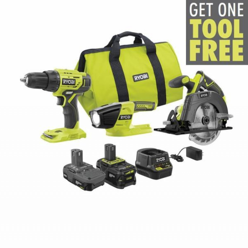 ihocon: RYOBI 18-Volt ONE+ Lithium-ion Cordless 3-Tool Combo Kit with (1) 4.0 Ah Battery, (1) 1.5 Ah Battery, Charger, and Bag  無線電動工具3個, 含電池, 充電器及收納袋