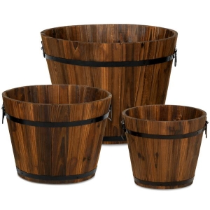 ihocon: Best Choice Products Set of 3 Rustic Wood Bucket Barrel Garden Planters Set w/ Drainage Holes 木桶式花園種植盆(有排水孔)3個